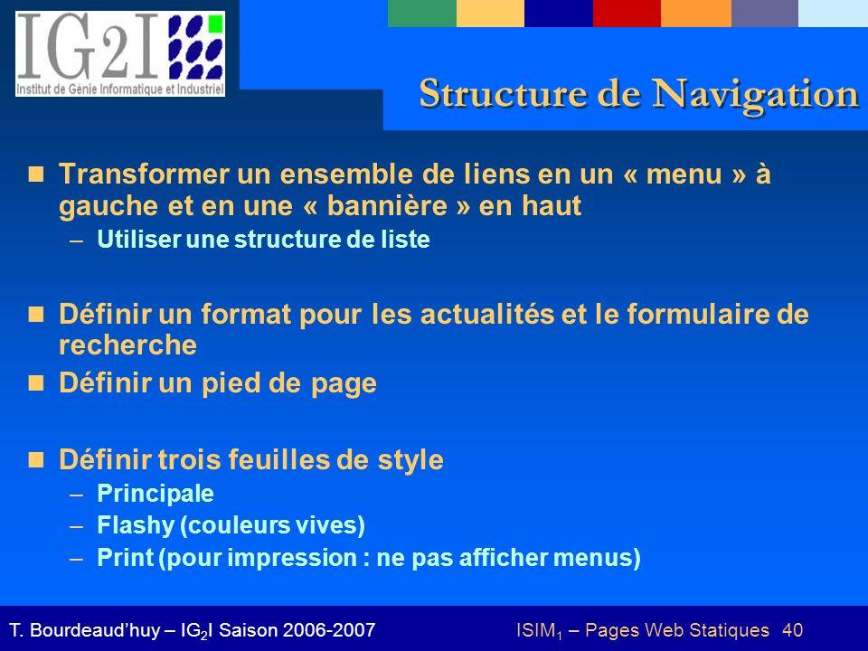 ISIM 1 – Pages Web Statiques 40T.