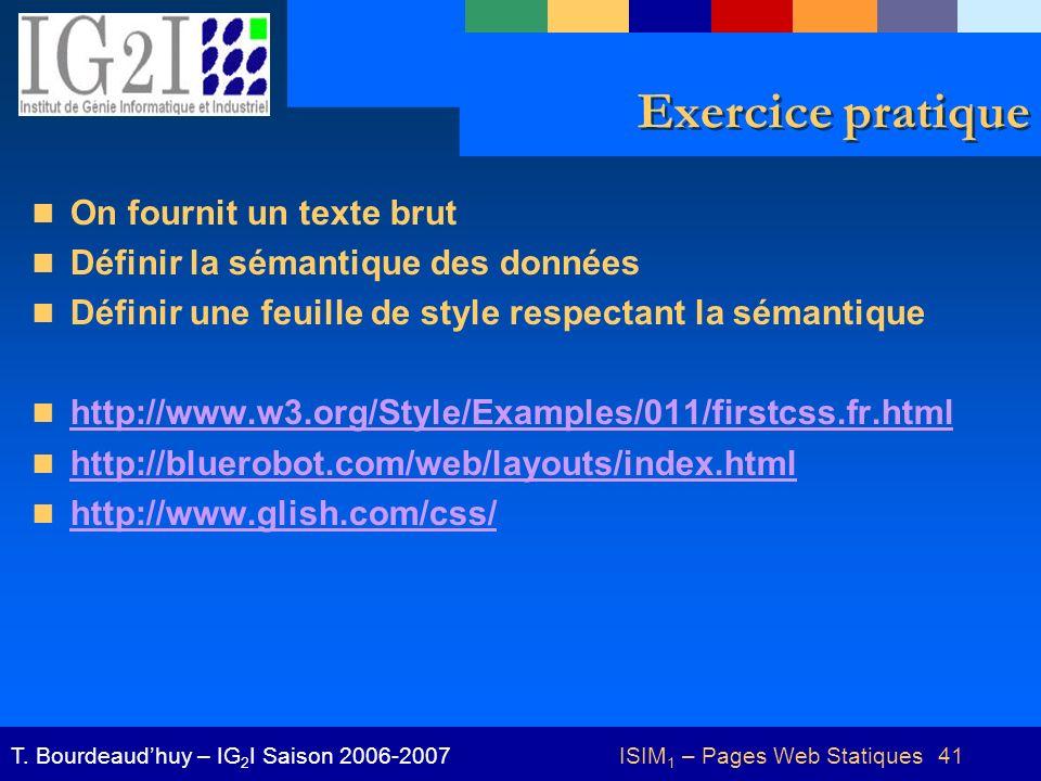 ISIM 1 – Pages Web Statiques 41T.
