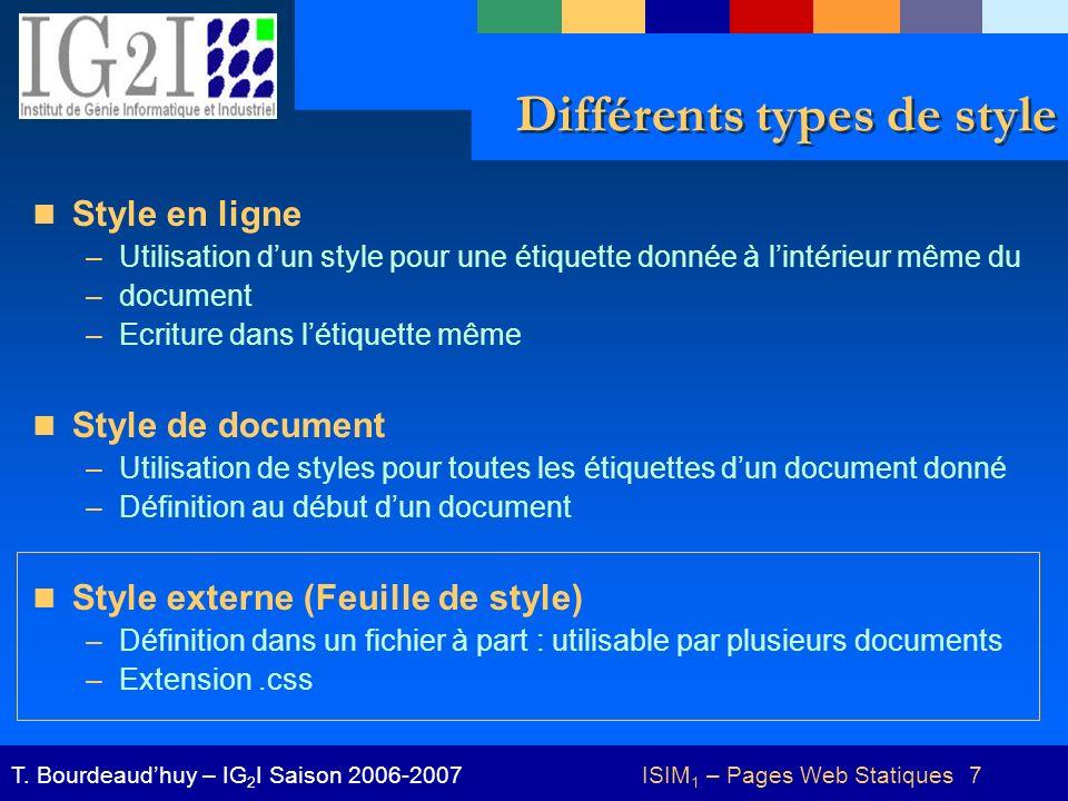 ISIM 1 – Pages Web Statiques 8T.