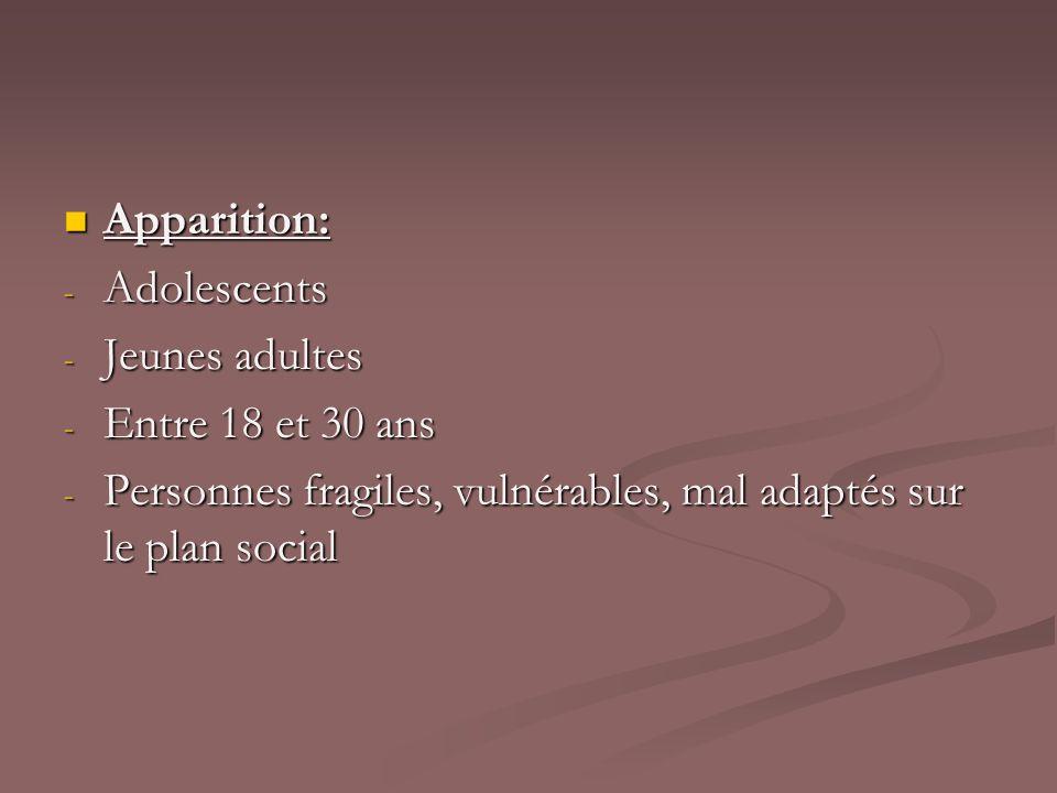 Apparition: Apparition: - Adolescents - Jeunes adultes - Entre 18 et 30 ans - Personnes fragiles, vulnérables, mal adaptés sur le plan social