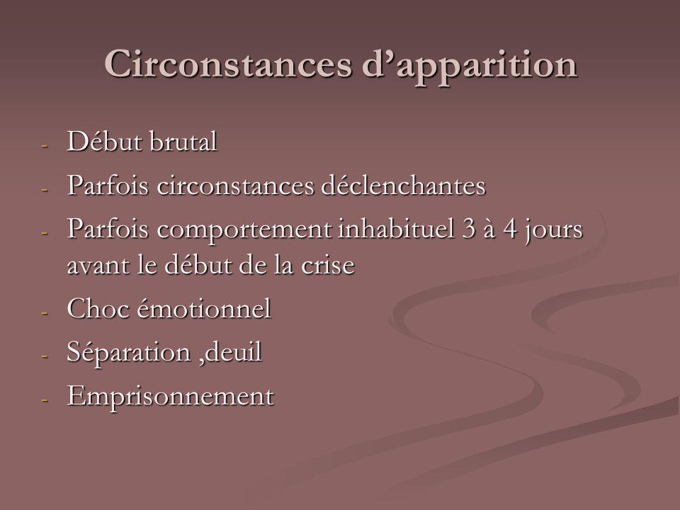 Circonstances dapparition - Début brutal - Parfois circonstances déclenchantes - Parfois comportement inhabituel 3 à 4 jours avant le début de la cris