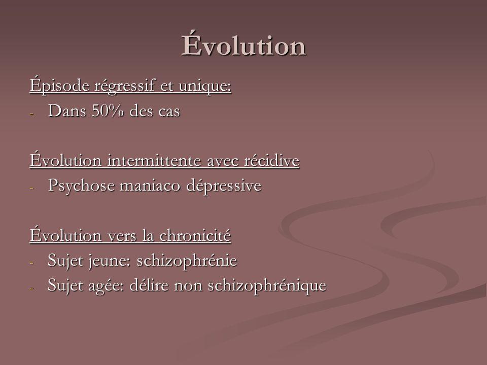 Évolution Épisode régressif et unique: - Dans 50% des cas Évolution intermittente avec récidive - Psychose maniaco dépressive Évolution vers la chroni