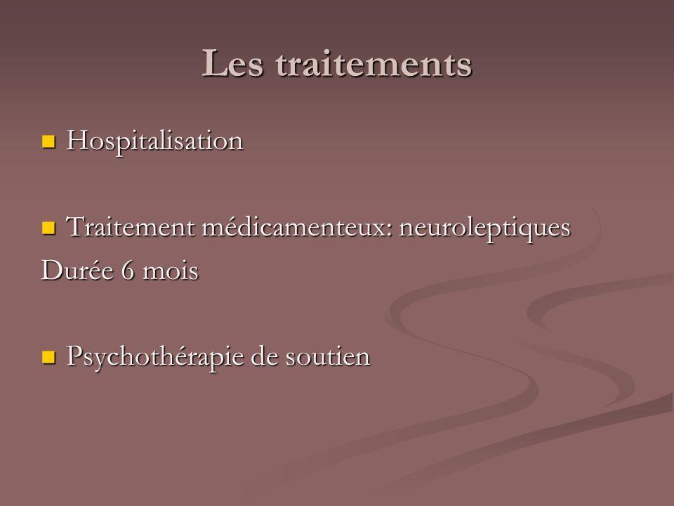 Les traitements Hospitalisation Hospitalisation Traitement médicamenteux: neuroleptiques Traitement médicamenteux: neuroleptiques Durée 6 mois Psychot