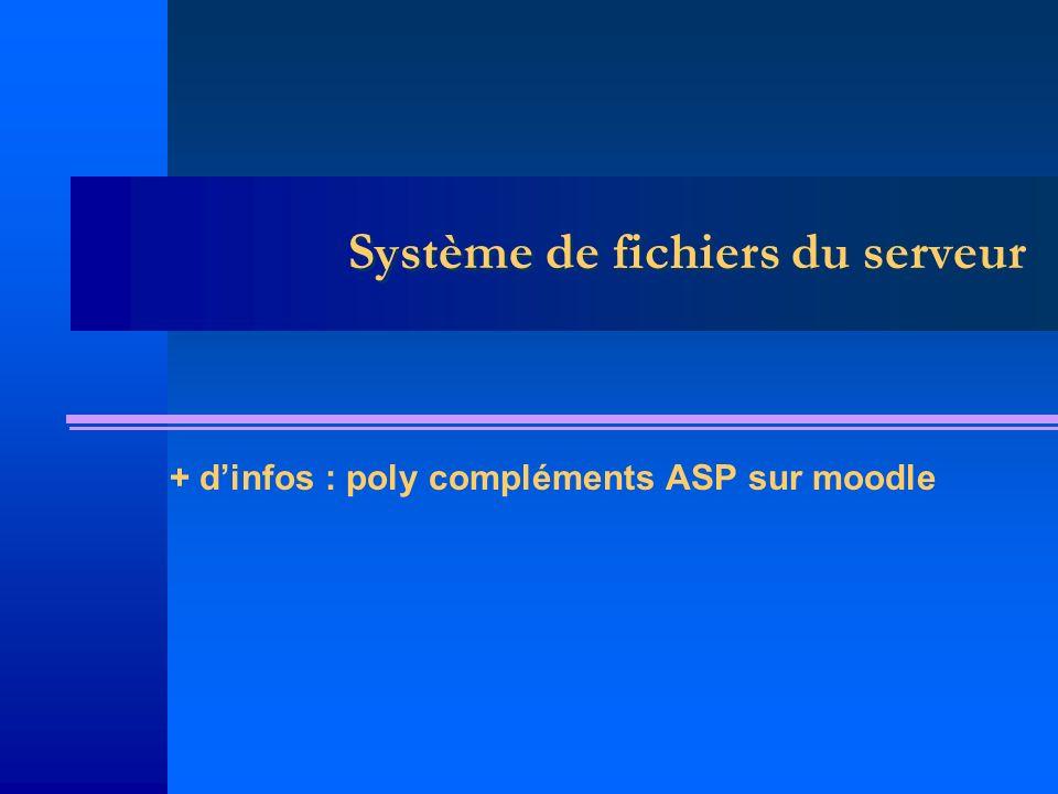 Système de fichiers du serveur + dinfos : poly compléments ASP sur moodle