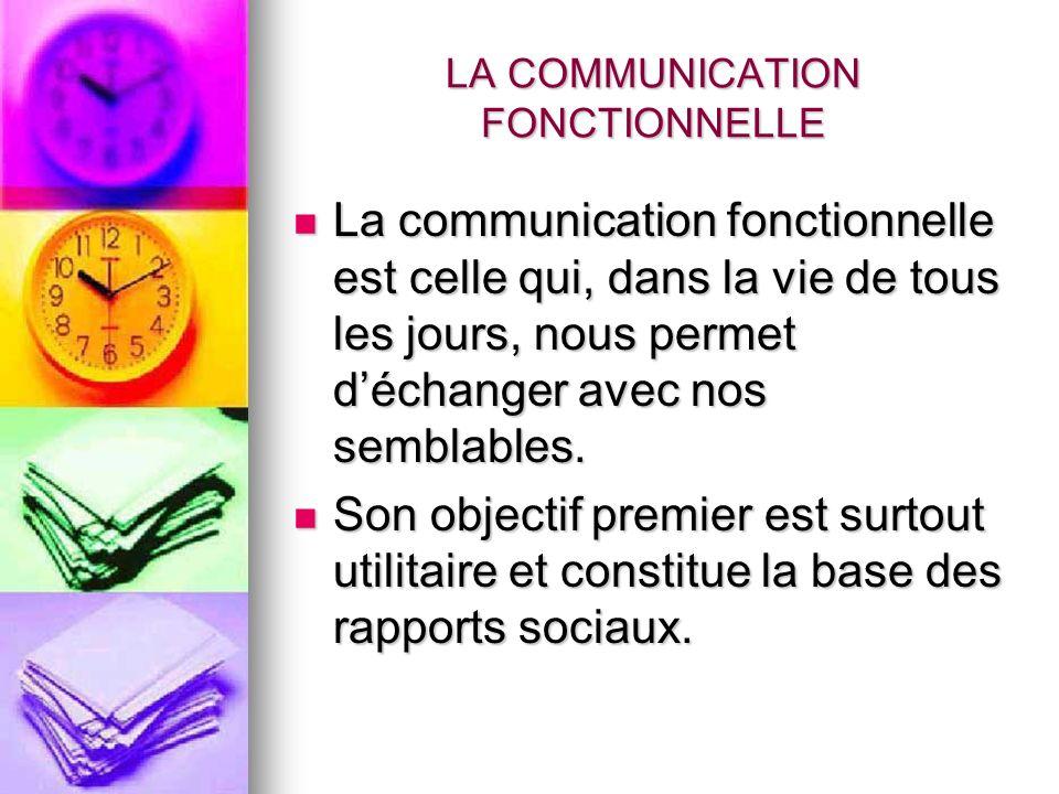 LA COMMUNICATION FONCTIONNELLE La communication fonctionnelle est celle qui, dans la vie de tous les jours, nous permet déchanger avec nos semblables.