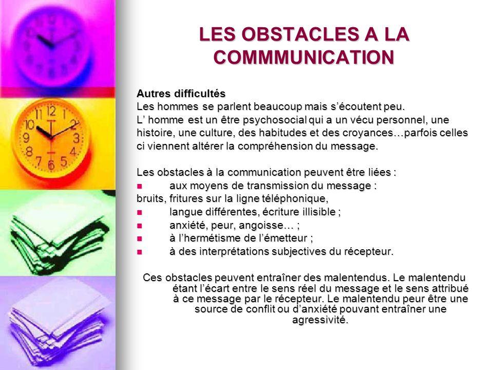 LES OBSTACLES A LA COMMMUNICATION Autres difficultés Les hommes se parlent beaucoup mais sécoutent peu. L homme est un être psychosocial qui a un vécu