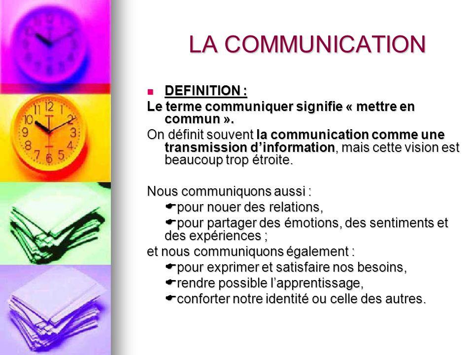 DEFINITION : DEFINITION : Le terme communiquer signifie « mettre en commun ». On définit souvent la communication comme une transmission dinformation,