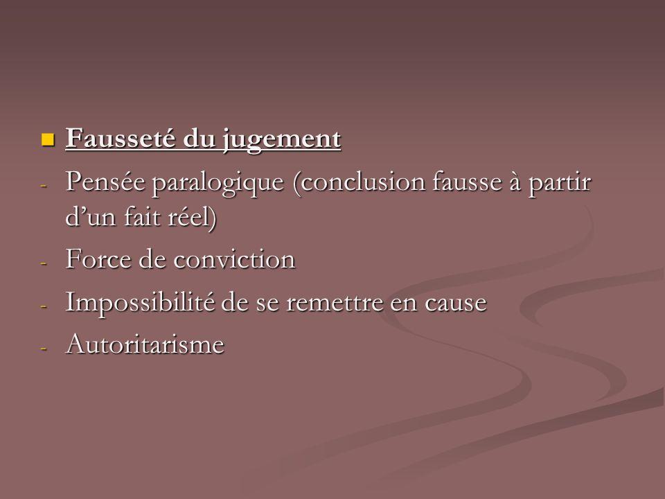 Fausseté du jugement Fausseté du jugement - Pensée paralogique (conclusion fausse à partir dun fait réel) - Force de conviction - Impossibilité de se