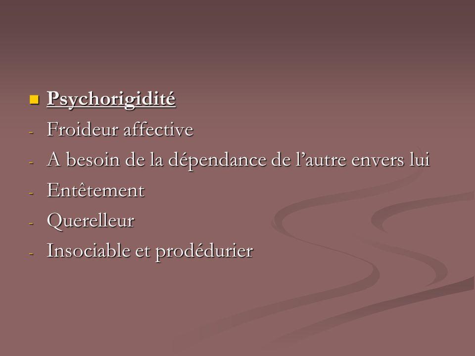 Psychorigidité Psychorigidité - Froideur affective - A besoin de la dépendance de lautre envers lui - Entêtement - Querelleur - Insociable et prodédur