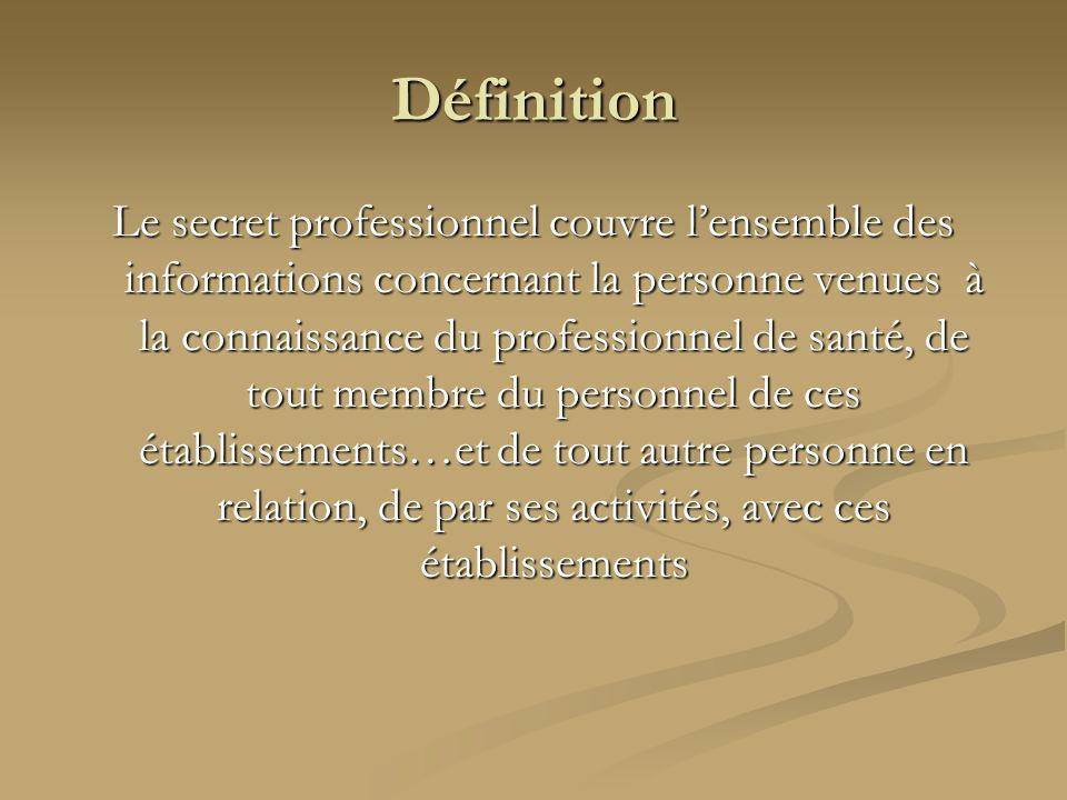 Définition Le secret professionnel couvre lensemble des informations concernant la personne venues à la connaissance du professionnel de santé, de tou