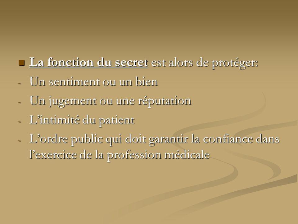 La fonction du secret est alors de protéger: La fonction du secret est alors de protéger: - Un sentiment ou un bien - Un jugement ou une réputation -