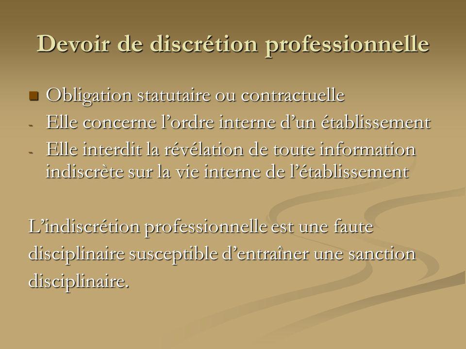 Devoir de discrétion professionnelle Obligation statutaire ou contractuelle Obligation statutaire ou contractuelle - Elle concerne lordre interne dun