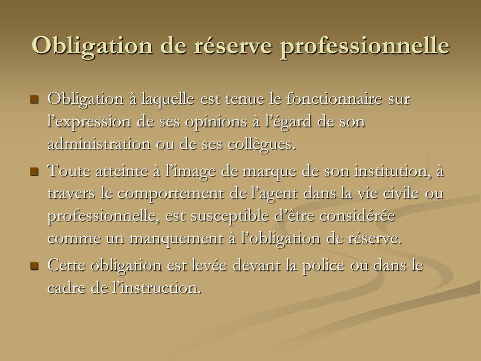 Obligation de réserve professionnelle Obligation à laquelle est tenue le fonctionnaire sur lexpression de ses opinions à légard de son administration