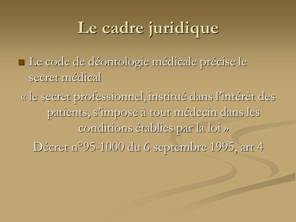 Le cadre juridique Le code de déontologie médicale précise le secret médical Le code de déontologie médicale précise le secret médical « le secret pro