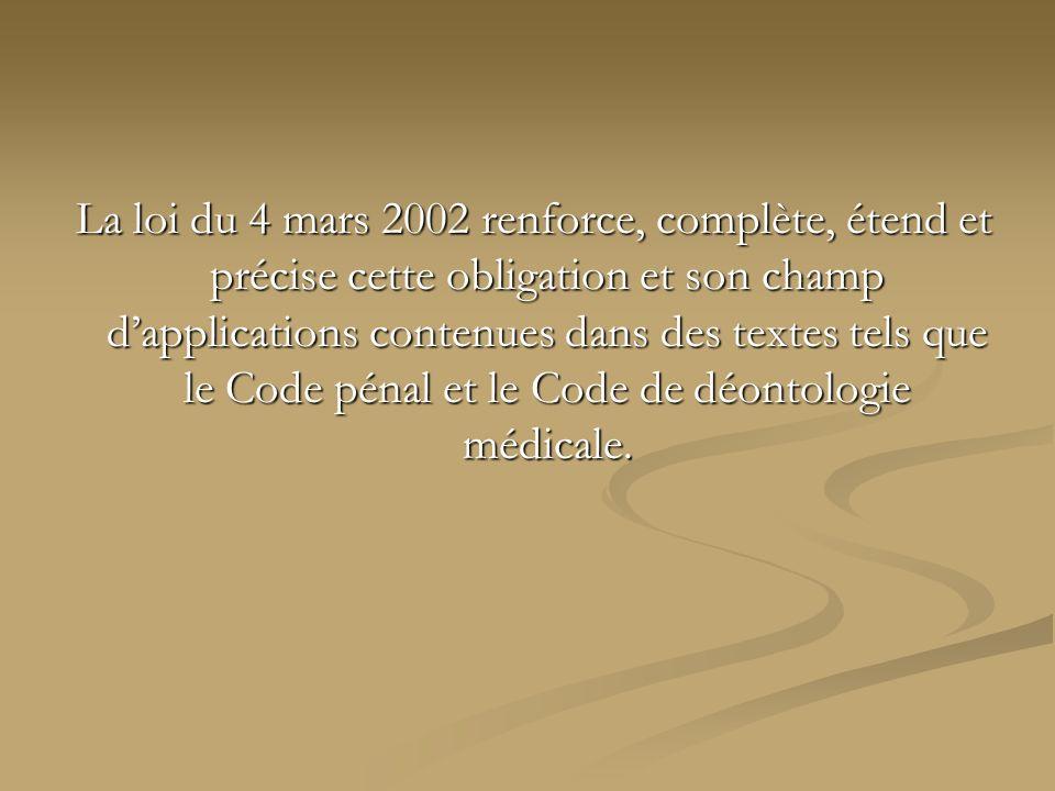 La loi du 4 mars 2002 renforce, complète, étend et précise cette obligation et son champ dapplications contenues dans des textes tels que le Code péna