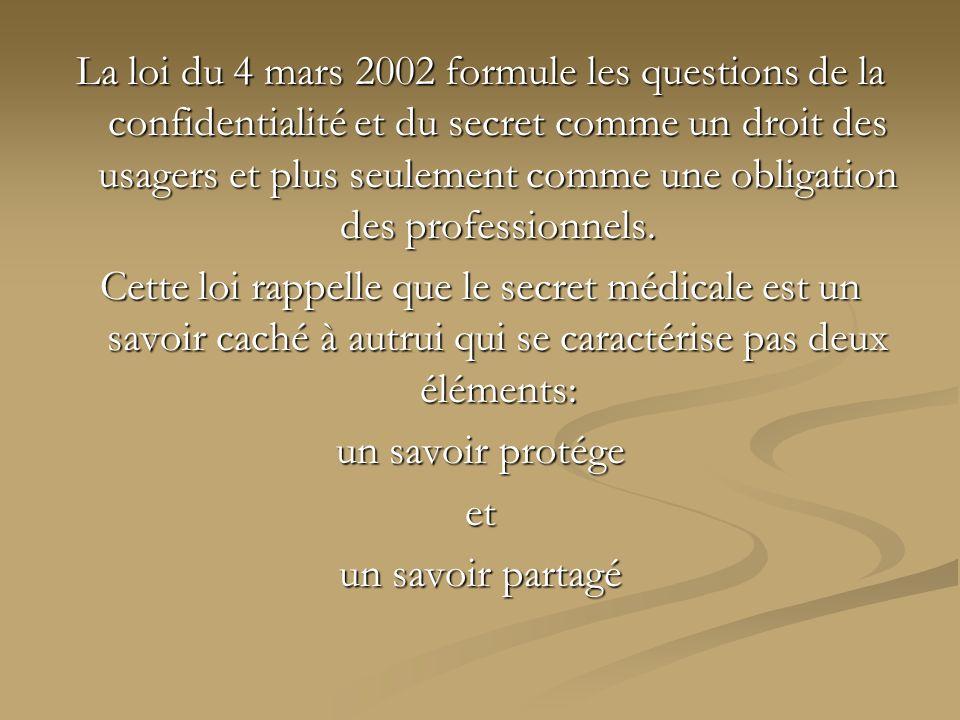 La loi du 4 mars 2002 formule les questions de la confidentialité et du secret comme un droit des usagers et plus seulement comme une obligation des p