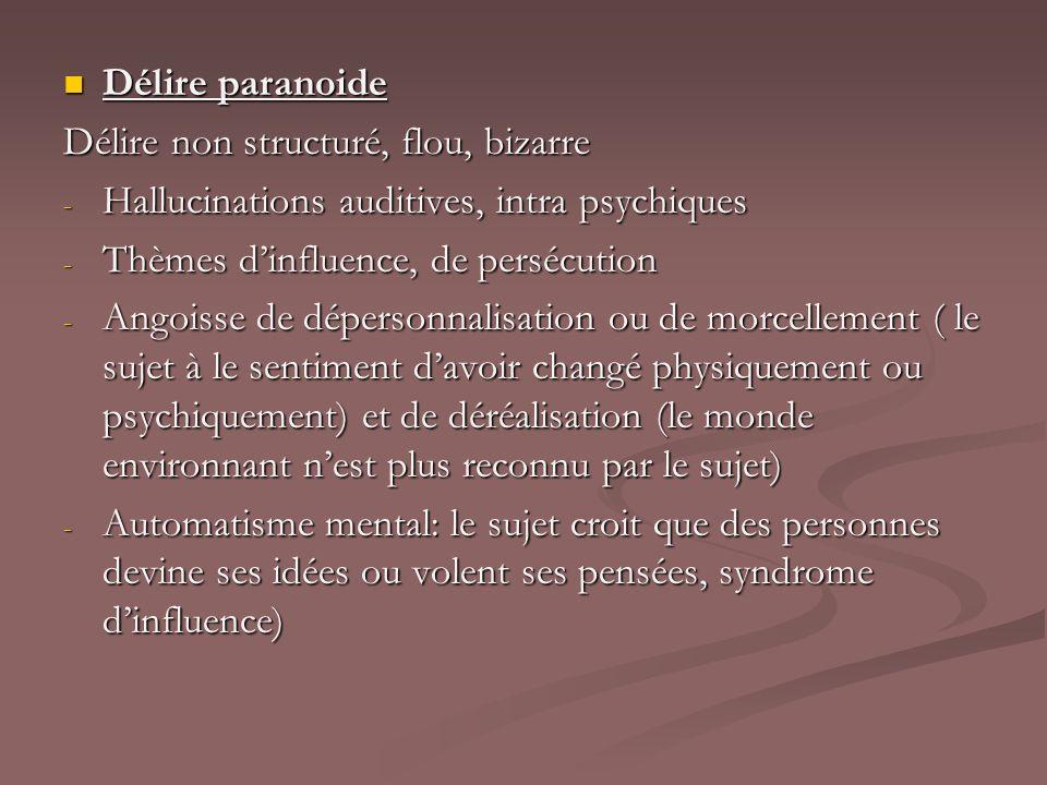 Délire paranoide Délire paranoide Délire non structuré, flou, bizarre - Hallucinations auditives, intra psychiques - Thèmes dinfluence, de persécution
