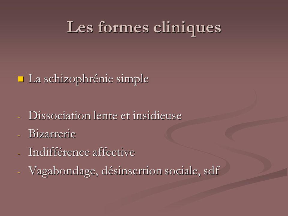 Les formes cliniques La schizophrénie simple La schizophrénie simple - Dissociation lente et insidieuse - Bizarrerie - Indifférence affective - Vagabo