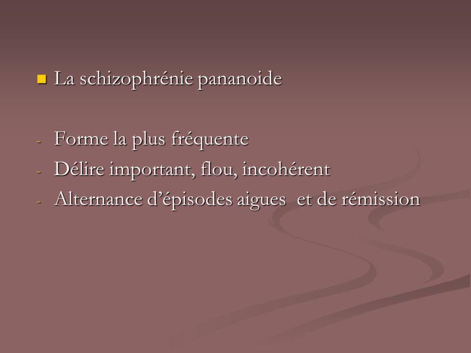La schizophrénie pananoide La schizophrénie pananoide - Forme la plus fréquente - Délire important, flou, incohérent - Alternance dépisodes aigues et