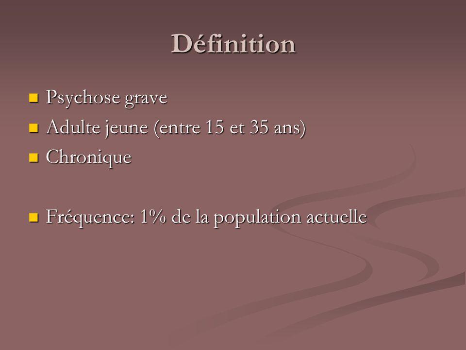 Définition Psychose grave Psychose grave Adulte jeune (entre 15 et 35 ans) Adulte jeune (entre 15 et 35 ans) Chronique Chronique Fréquence: 1% de la p
