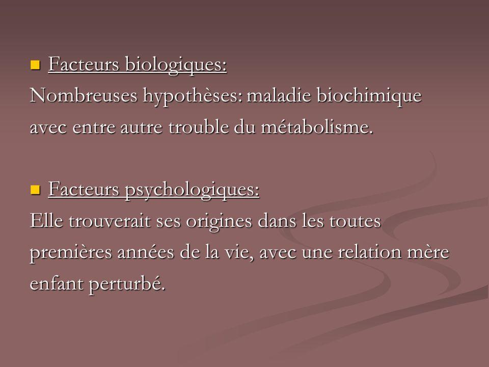 Facteurs biologiques: Facteurs biologiques: Nombreuses hypothèses: maladie biochimique avec entre autre trouble du métabolisme. Facteurs psychologique
