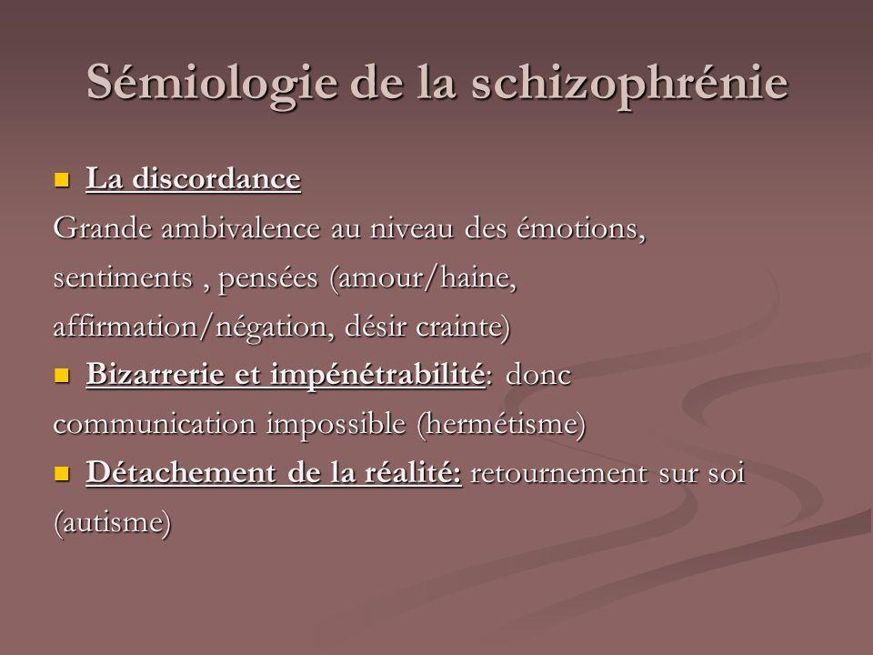 Sémiologie de la schizophrénie La discordance La discordance Grande ambivalence au niveau des émotions, sentiments, pensées (amour/haine, affirmation/