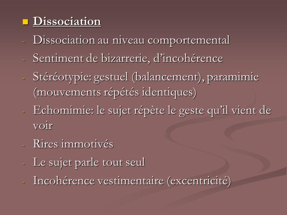 Dissociation Dissociation - Dissociation au niveau comportemental - Sentiment de bizarrerie, dincohérence - Stéréotypie: gestuel (balancement), parami