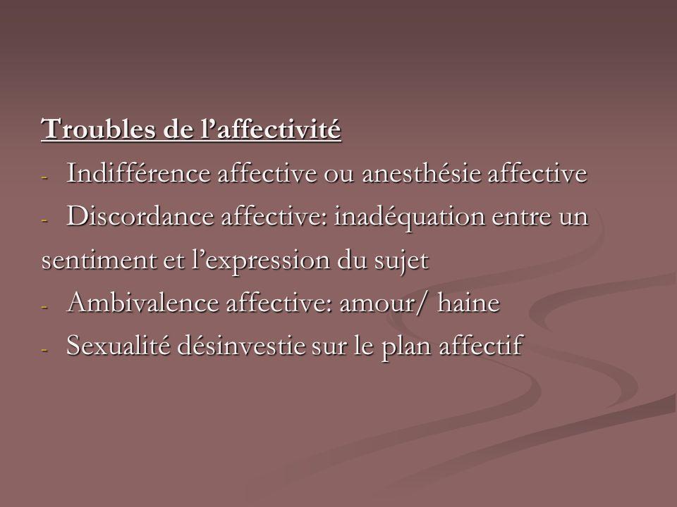 Troubles de laffectivité - Indifférence affective ou anesthésie affective - Discordance affective: inadéquation entre un sentiment et lexpression du s