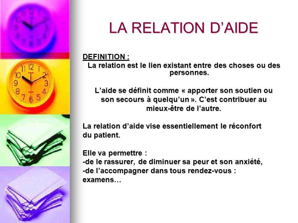 LA RELATION DAIDE DEFINITION : La relation est le lien existant entre des choses ou des personnes. Laide se définit comme « apporter son soutien ou so