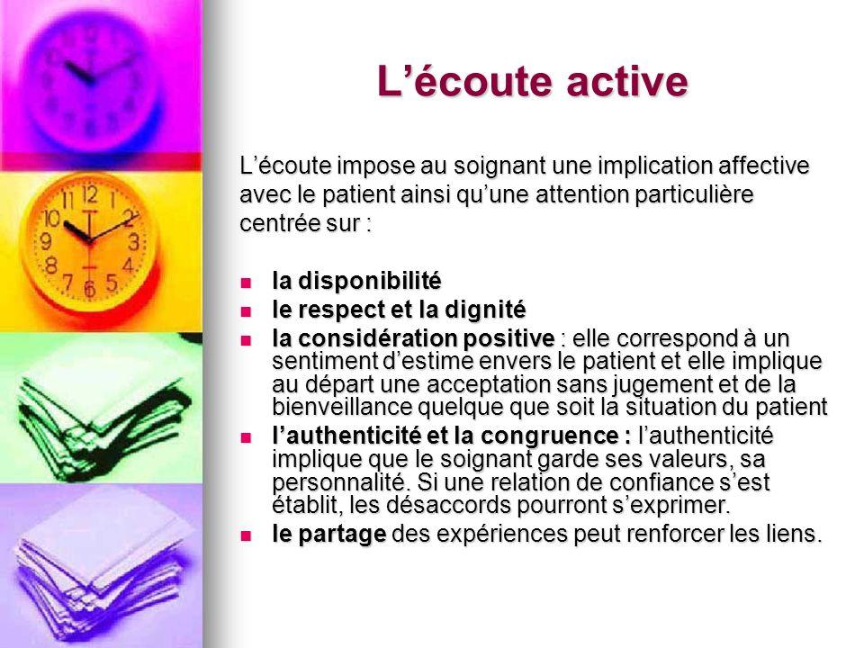 Lécoute active Lécoute impose au soignant une implication affective avec le patient ainsi quune attention particulière centrée sur : la disponibilité