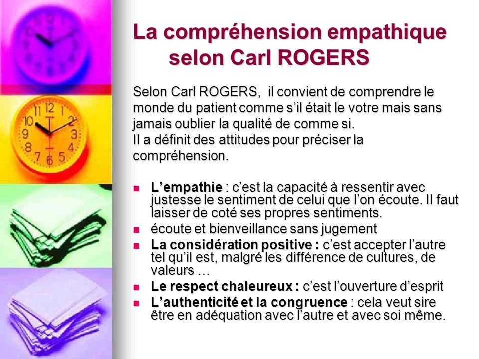 La compréhension empathique selon Carl ROGERS Selon Carl ROGERS, il convient de comprendre le monde du patient comme sil était le votre mais sans jama