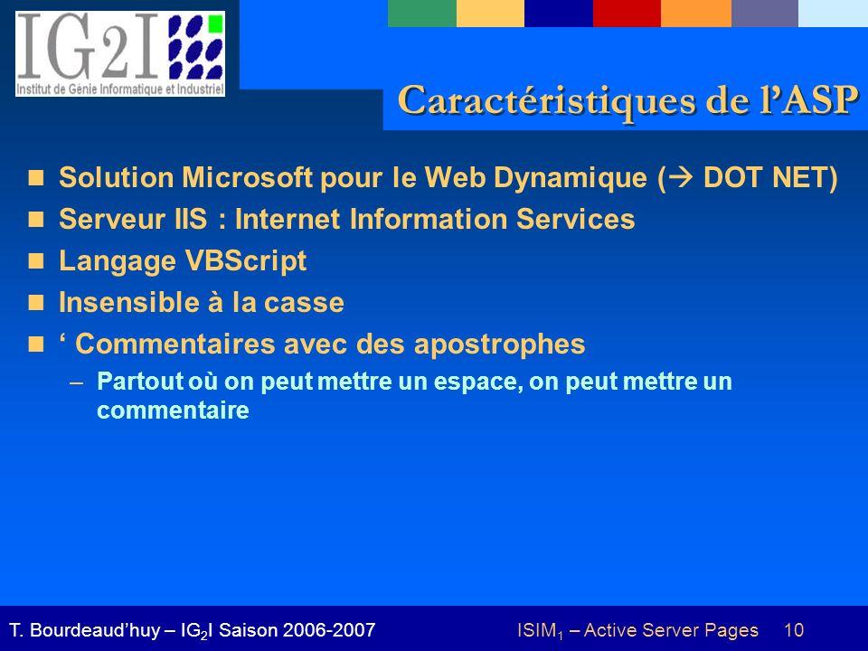ISIM 1 – Active Server Pages 10T. Bourdeaudhuy – IG 2 I Saison 2006-2007 Caractéristiques de lASP Solution Microsoft pour le Web Dynamique ( DOT NET)