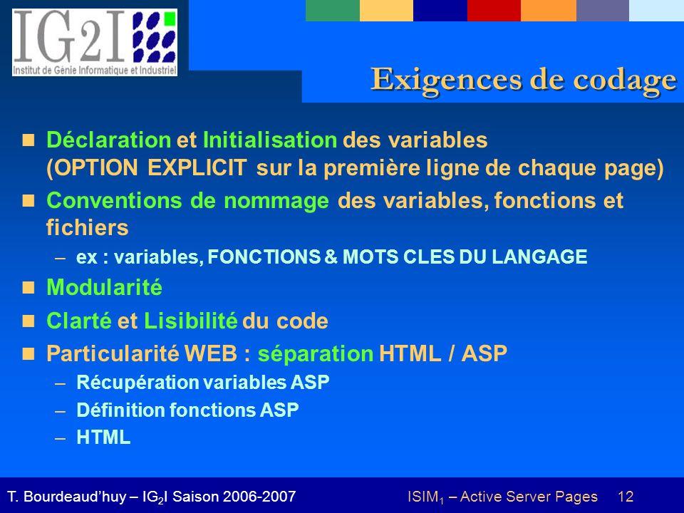 ISIM 1 – Active Server Pages 12T. Bourdeaudhuy – IG 2 I Saison 2006-2007 Exigences de codage Déclaration et Initialisation des variables (OPTION EXPLI