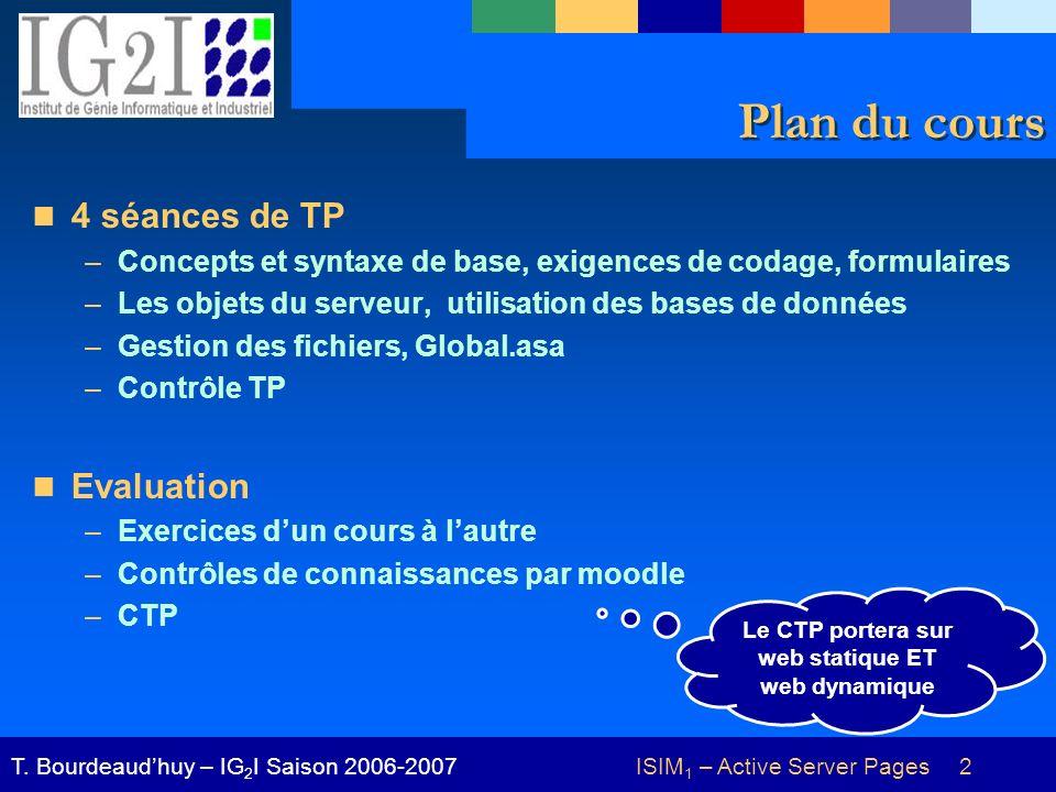 ISIM 1 – Active Server Pages 2T. Bourdeaudhuy – IG 2 I Saison 2006-2007 Plan du cours 4 séances de TP –Concepts et syntaxe de base, exigences de codag