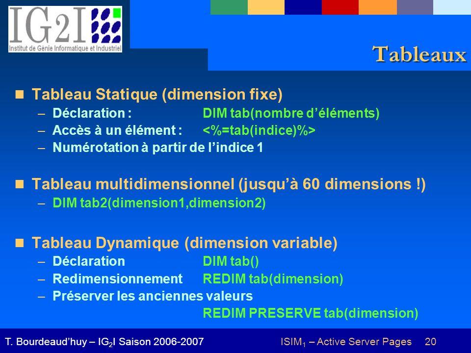 ISIM 1 – Active Server Pages 20T. Bourdeaudhuy – IG 2 I Saison 2006-2007 Tableaux Tableau Statique (dimension fixe) –Déclaration : DIM tab(nombre délé