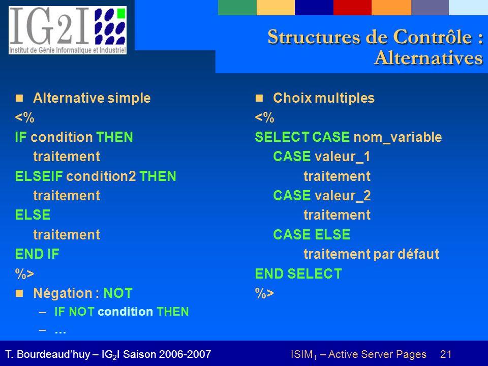 ISIM 1 – Active Server Pages 21T. Bourdeaudhuy – IG 2 I Saison 2006-2007 Structures de Contrôle : Alternatives Alternative simple <% IF condition THEN