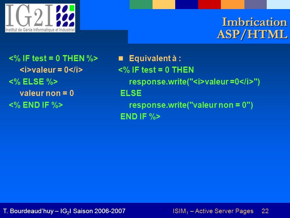 ISIM 1 – Active Server Pages 22T. Bourdeaudhuy – IG 2 I Saison 2006-2007 Imbrication ASP/HTML valeur = 0 valeur non = 0 Equivalent à : <% IF test = 0
