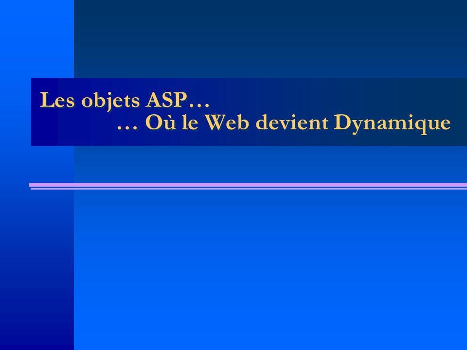 Les objets ASP… … Où le Web devient Dynamique