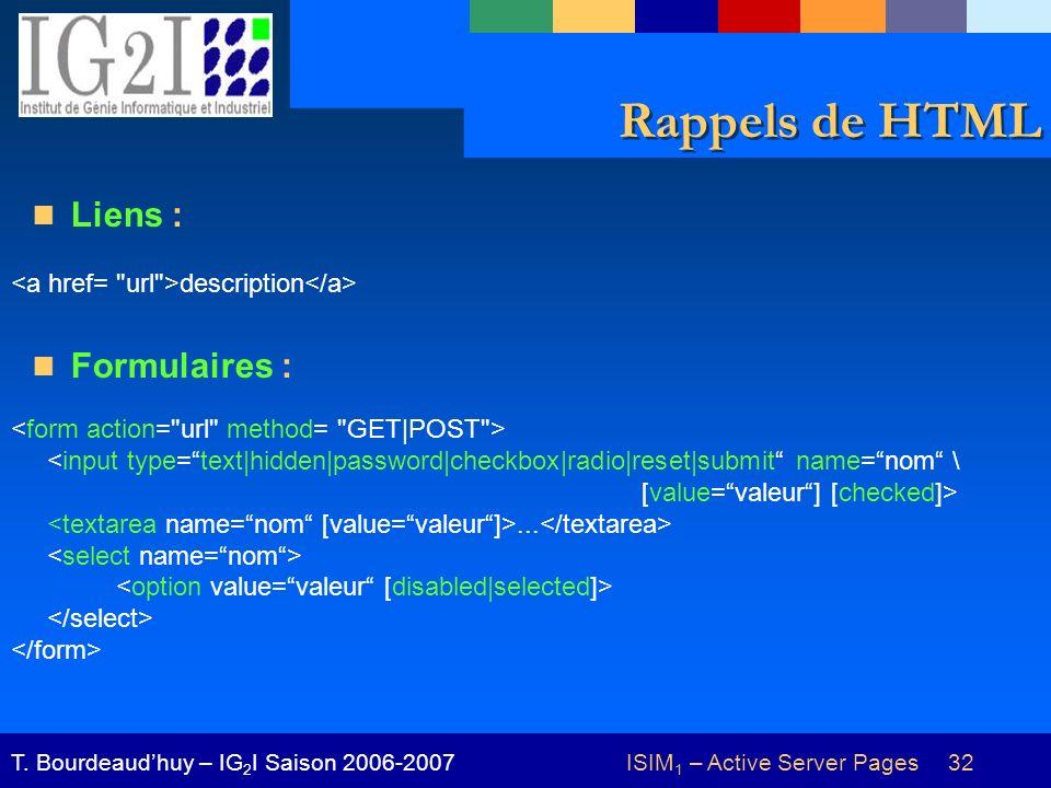 ISIM 1 – Active Server Pages 32T. Bourdeaudhuy – IG 2 I Saison 2006-2007 Rappels de HTML Liens : Formulaires : <input type=text|hidden|password|checkb