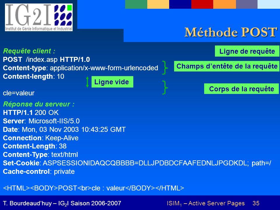 ISIM 1 – Active Server Pages 35T. Bourdeaudhuy – IG 2 I Saison 2006-2007 Méthode POST Réponse du serveur : HTTP/1.1 200 OK Server: Microsoft-IIS/5.0 D