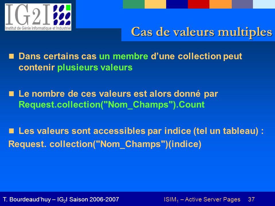 ISIM 1 – Active Server Pages 37T. Bourdeaudhuy – IG 2 I Saison 2006-2007 Cas de valeurs multiples Dans certains cas un membre dune collection peut con