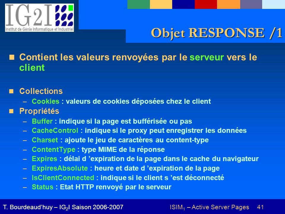 ISIM 1 – Active Server Pages 41T. Bourdeaudhuy – IG 2 I Saison 2006-2007 Objet RESPONSE /1 Contient les valeurs renvoyées par le serveur vers le clien