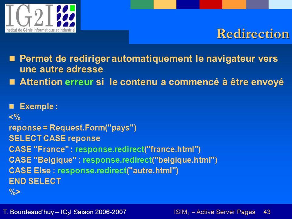 ISIM 1 – Active Server Pages 43T. Bourdeaudhuy – IG 2 I Saison 2006-2007 Redirection Permet de rediriger automatiquement le navigateur vers une autre