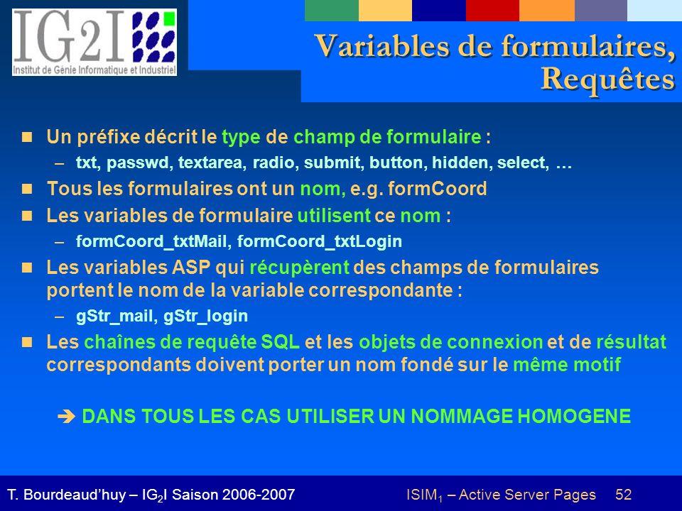 ISIM 1 – Active Server Pages 52T. Bourdeaudhuy – IG 2 I Saison 2006-2007 Variables de formulaires, Requêtes Un préfixe décrit le type de champ de form