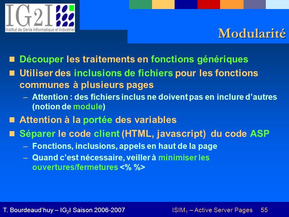 ISIM 1 – Active Server Pages 55T. Bourdeaudhuy – IG 2 I Saison 2006-2007 Modularité Découper les traitements en fonctions génériques Utiliser des incl