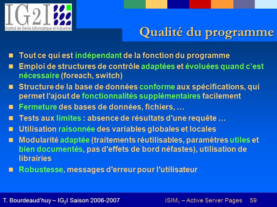 ISIM 1 – Active Server Pages 59T. Bourdeaudhuy – IG 2 I Saison 2006-2007 Qualité du programme Tout ce qui est indépendant de la fonction du programme