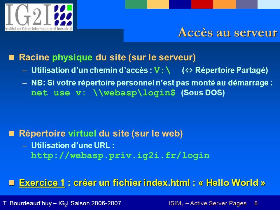 ISIM 1 – Active Server Pages 8T. Bourdeaudhuy – IG 2 I Saison 2006-2007 Accès au serveur Racine physique du site (sur le serveur) –Utilisation dun che