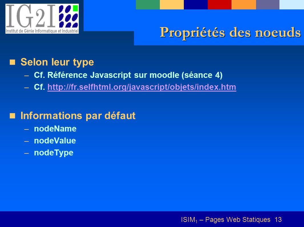ISIM 1 – Pages Web Statiques 13 Propriétés des noeuds Selon leur type –Cf.