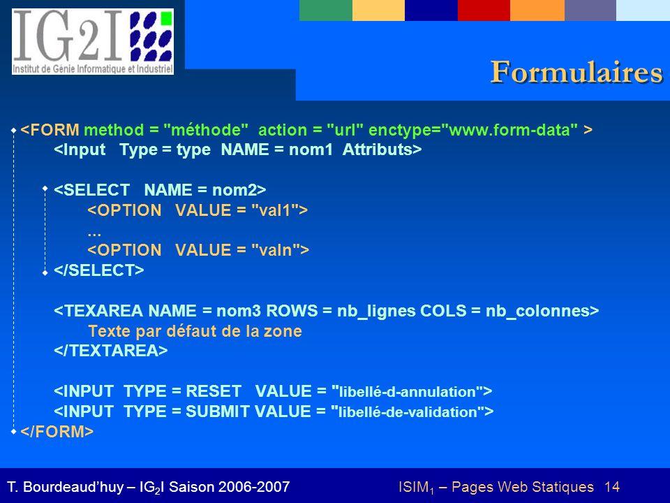 ISIM 1 – Pages Web Statiques 14T.Bourdeaudhuy – IG 2 I Saison 2006-2007 Formulaires...