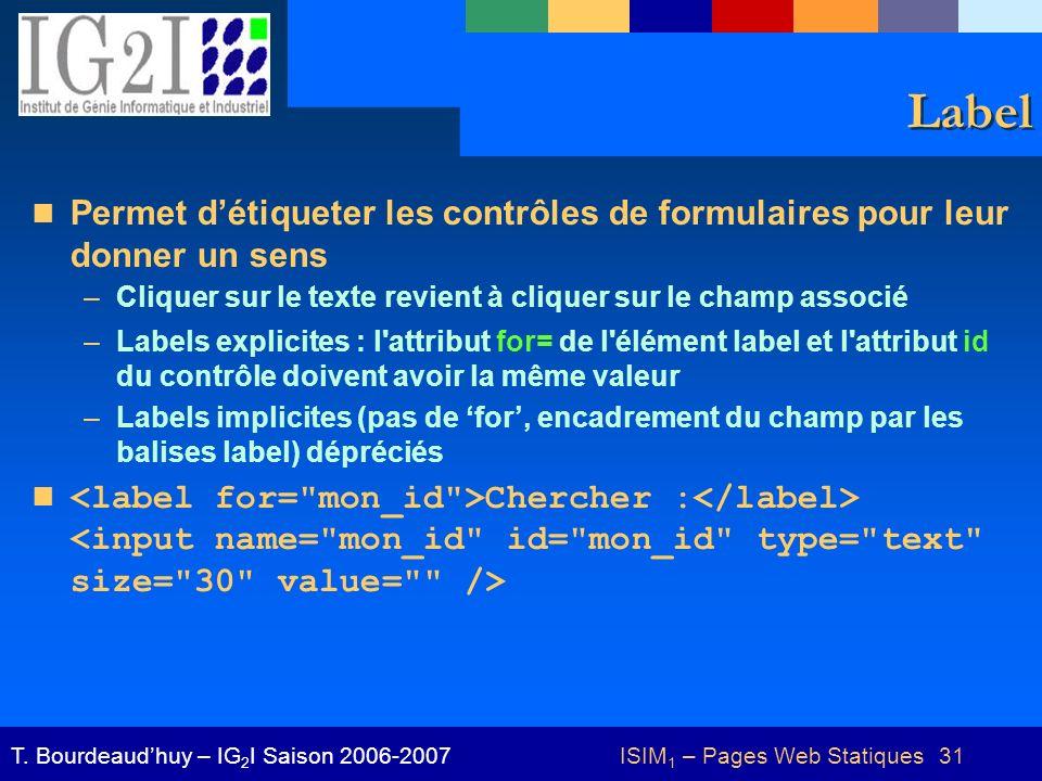 ISIM 1 – Pages Web Statiques 31T.